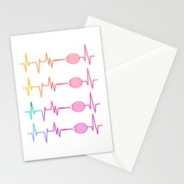 Tennis heartbeat EKG pulse Stationery Cards