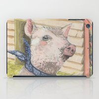 kevin russ iPad Cases featuring Kevin the piggy by Jia Guo