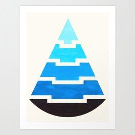 Cerulean Blue Gouache Painting Aztec Minimalist Abstract Geometric Pattern Pyramid Art Print