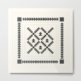 Black and White Quilt Block Metal Print