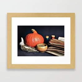 Attributes of a witch profession on table Framed Art Print