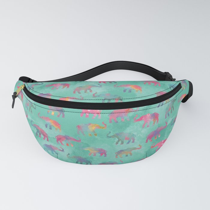 Elephants on Parade Watercolor Green Fanny Pack