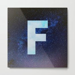 Blue Space Galaxy Initial Monogram Letter F Metal Print