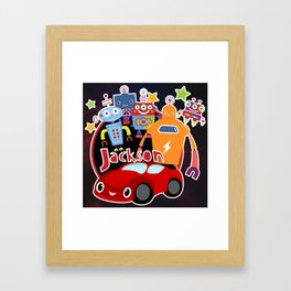 Jax-Red Car + Robots Framed Art Print