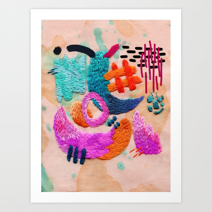 Abstract Embroidery Art Print By Embroiderrred Society6