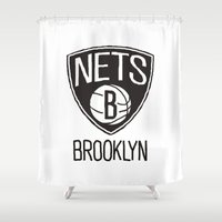 nba Shower Curtains featuring Brushed NBA Team Logos - Nets by Katadd