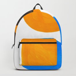 Abstract Mid Century Modern Colorful Minimal Pop Art Yellow Orange Blue Bubbles Ovals Backpack