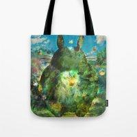 calcifer Tote Bags featuring best neighbor  by ururuty