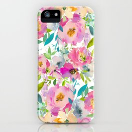 Hand painted pink lavender lilac teal watercolor elegant floral iPhone Case
