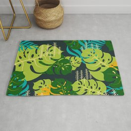 Colorful Pile of Leaves in the Rain Forest Rug
