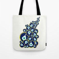 evil eye Tote Bags featuring Evil eye by Suburban Bird Designs