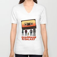 guardians of the galaxy V-neck T-shirts featuring GUARDIANS OF THE GALAXY by Kaitlin Smith