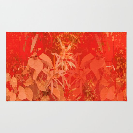 Beautiful Red Foliages Illustration Of Garden Rug By