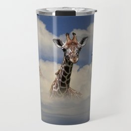 Heads above the Clouds with 3 Giraffes Travel Mug