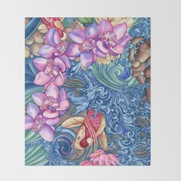Orchid Splash Throw Blanket