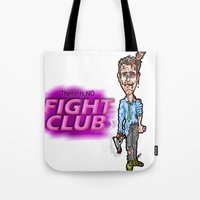 brad pitt Tote Bags featuring Edward Norton and Brad Pitt as Tyler Durden in...  The Fight Club Cartoon!  by beetoons