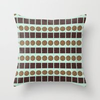 cookie monster Throw Pillows featuring Cookie Monster (mint) by Sidrah  Mahmood