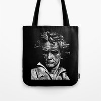beethoven Tote Bags featuring Beethoven by G_Stevenson