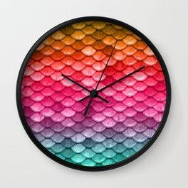 Mermaid Tail Fish Scales Wall Clock