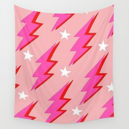 Barbie Pink and White Lightning and Stars Wall Tapestry