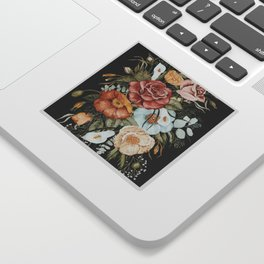 Roses and Poppies Bouquet on Charcoal Black Sticker