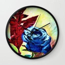 Schönbrunn Palace, Vienna Blue Roses Flower Portrait by Jeanpaul Ferro Wall Clock