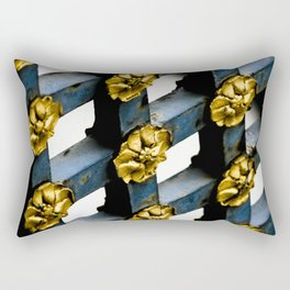 Gray Blue French Architecture with Parisian Gold Flowers Rectangular Pillow