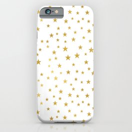 Gold Star Sprinkle on White iPhone Case