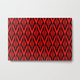 Triangles pattern red graphic vintage Metal Print
