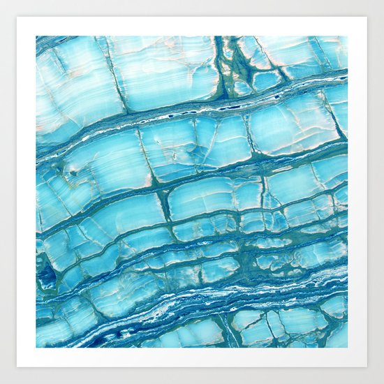 Blue onyx marble Art Print