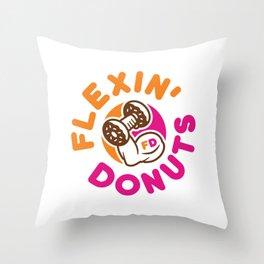 Flexin Donuts Throw Pillow
