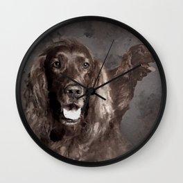Irish Setter Dogs Digital Art Wall Clock