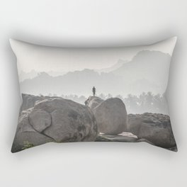 A Silhouette in the Monochromatic Boulders of India Rectangular Pillow
