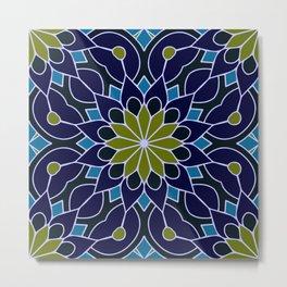 Mandala Flower Green Dark Blue Metal Print