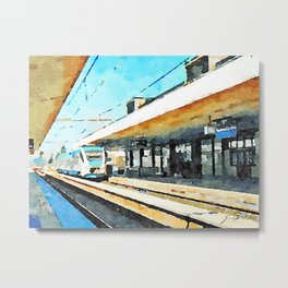 Pescara railway station: train enters the station Metal Print