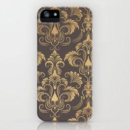 Gold foil swirls damask #10 iPhone Case