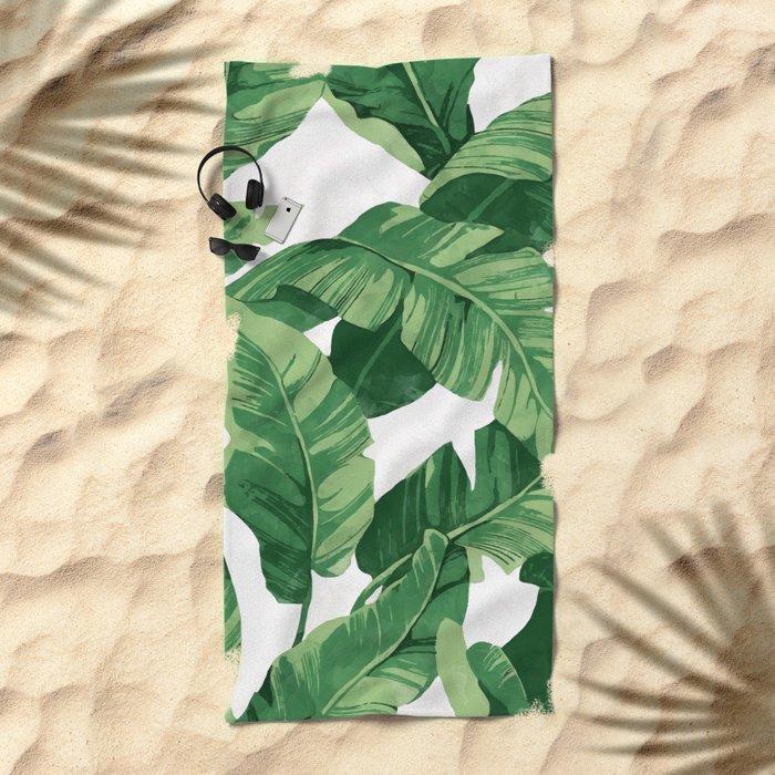 Tropical banana leaves IV Beach Towel