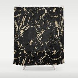 Coal Black Marble Gold Mine Shower Curtain