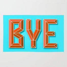 """BYE"" 3D Letters (Light Sky Blue, Burnt Orange) Rug"