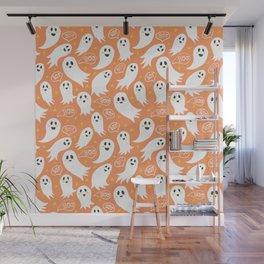 Friendly Ghosts on Orange Wall Mural