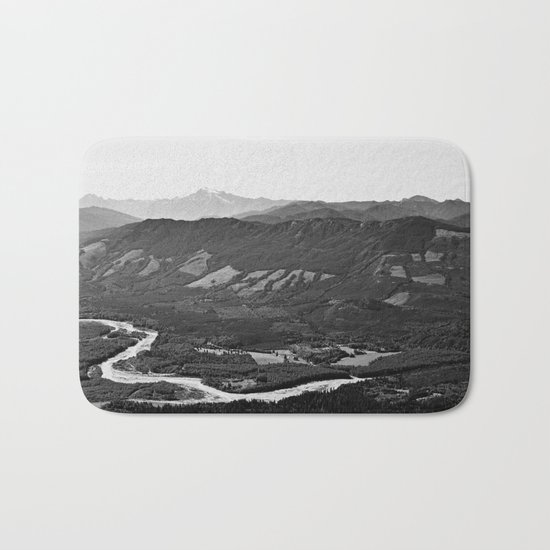 River in the Mountains B&W Bath Mat