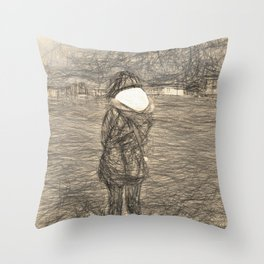 A Cold Day at the Shore Throw Pillow
