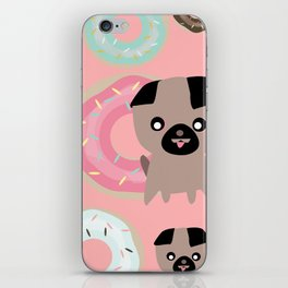 Pug and donuts pink iPhone Skin