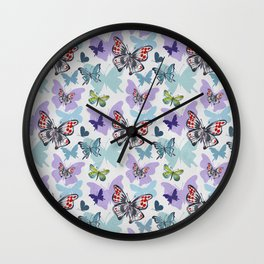 Butterflies painted with watercolors Wall Clock