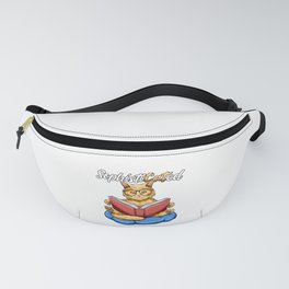 Sophisticated Pun - Funny Nerd Cat Reading Book Fanny Pack