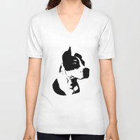 pitbull V-neck T-shirts featuring Pitbull Love! by Kristen Lord