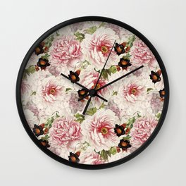 Small Vintage Peony and Ipomea Pattern - Smelling Dreams Wall Clock