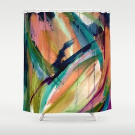 Brave: A colorful and energetic mixed media piece Shower Curtain
