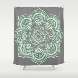 Mandala Flower Gray & Mint Shower Curtain