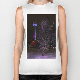 Skylon Tower with Christmas Lights Biker Tank